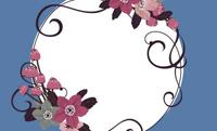 花と黒いハイヒール・ブルー 裏面