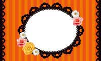 花とストライプ・オレンジ(写真あり) 裏面